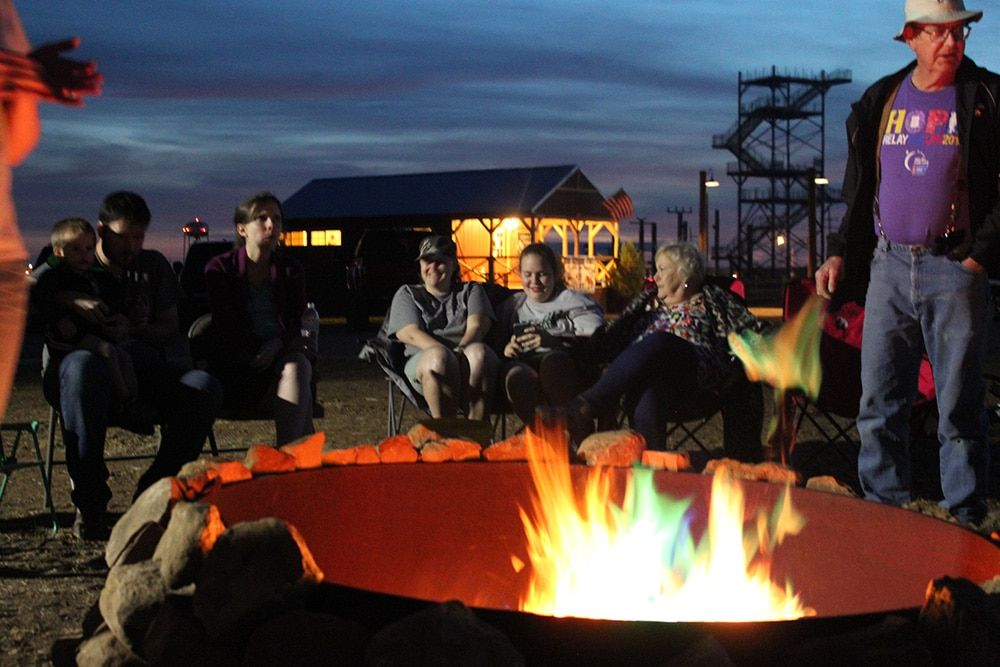 Enjoy the community firepit at our Plainview, TX RV park